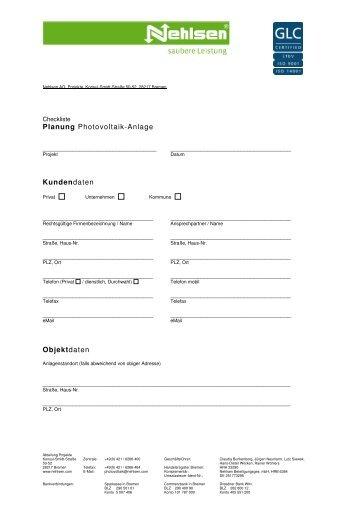 Checkliste Photovoltaik [51 kB] - Nehlsen AG