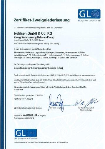 Zertifikat-Zweigniederlassung GL Systems Certification