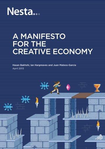 A MAnIfesto for tHe creAtIve econoMy