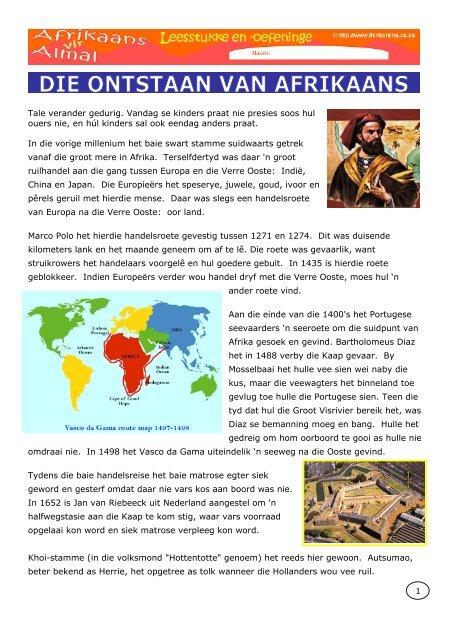 Afrikaans LEESSTUKKE 3 Ontstaan_van_Afrikaans.pdf - Think Online