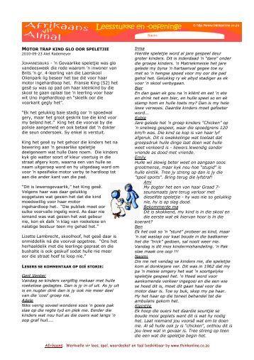 Afrikaans LEESSTUKKE 5 'n Gevaarlike speletjie.pdf - Think Online