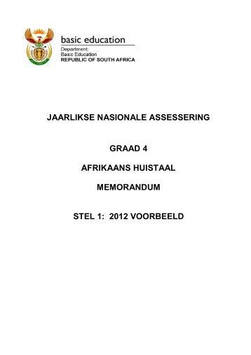 JAARLIKSE NASIONALE ASSESSERING GRAAD 4 AFRIKAANS ...