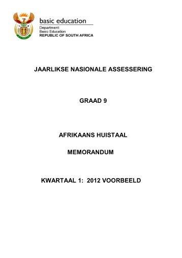 jaarlikse nasionale assessering graad 9 afrikaans huistaal
