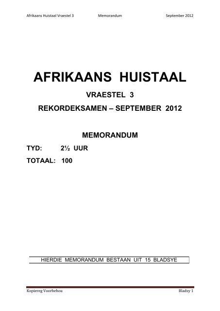 Afrikaans Huistaal Vraest
