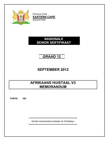Afrikaans Huistaal Vraestel 3 - Thutong