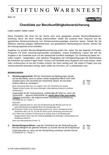 Checkliste Stiftung Warentest