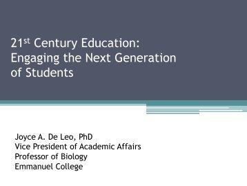 View Dr. De Leo's powerpoint presentation - Emmanuel College