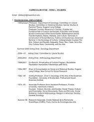 CURRICULUM VITAE - VERA L. ZOLBERG Email ... - The New School
