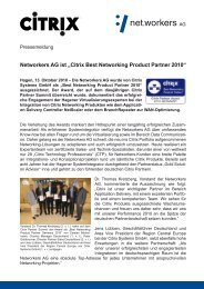 Networkers AG ist ?Citrix Best Networking Product Partner 2010?