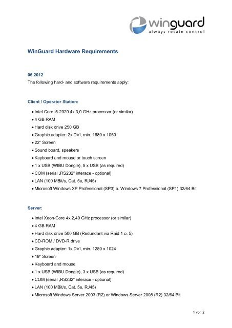 WinGuard system requirements - WinGuard by Advancis Software