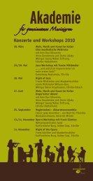 Konzerte und Workshops 2010 - der Neuen Musikschule eV im ...