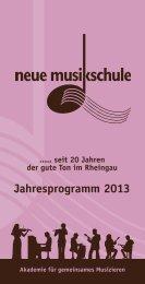 Jahresprogramm 2013 - der Neuen Musikschule eV im Rheingau