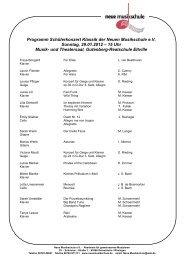 Programm Schülerkonzert Klassik der Neuen Musikschule e.V. ...
