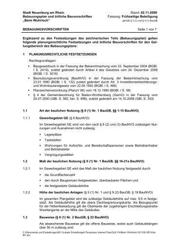 """Bebauungsvorschriften """"Beim Wuhrloch"""" - Stadt Neuenburg am Rhein"""