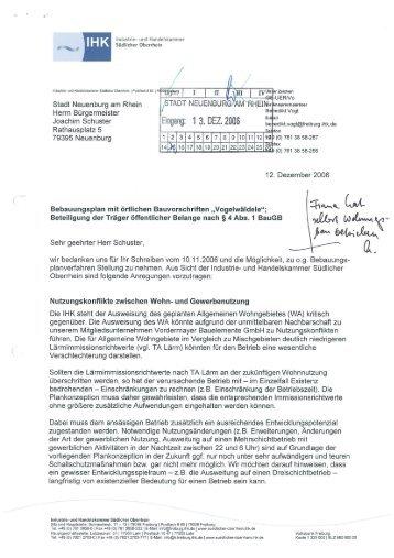 Stellungnahme IHK Südlicher Oberrhein - Stadt Neuenburg am Rhein