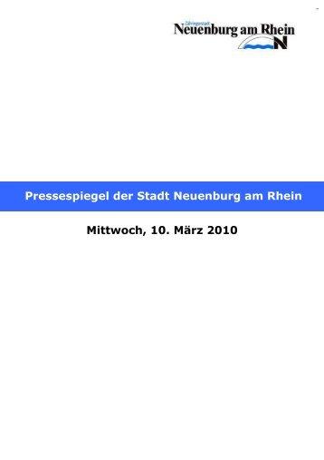 Mittwoch, 10. März 2010 Pressespiegel der Stadt Neuenburg am ...