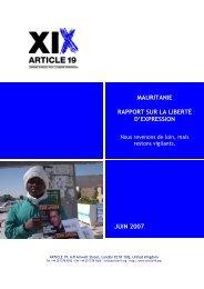 Mauritanie: Rapport sur la liberté d'expression - Article 19