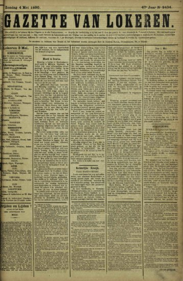 Zondag 4 Mei 1890. 47» Jaar N- 2434. Lokeren 3 Mei. trijden en ...