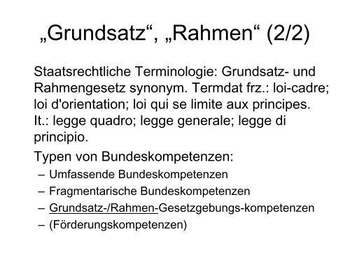 """Rahmengesetz"", ""Grundsatzgesetz""?: Christoph Bloch, BJ - EJPD"
