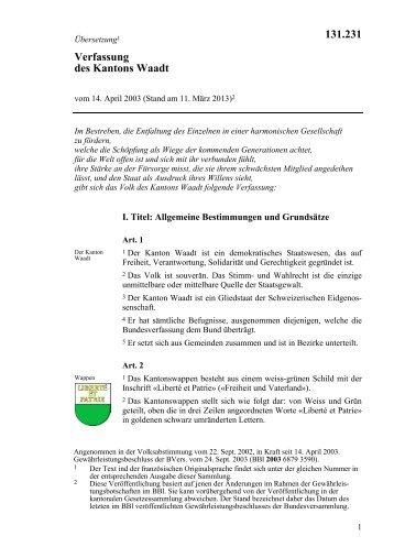 Verfassung des Kantons Waadt 131.231 - admin.ch