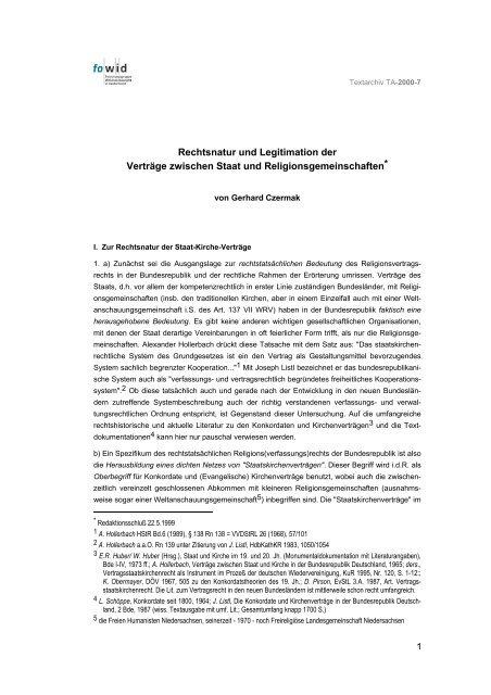Rechtsnatur und Legitimation der Verträge zwischen Staat und ...