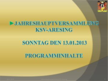Jahreshauptversammlung des KSV-Aresing Sonntag den 16.01 ...