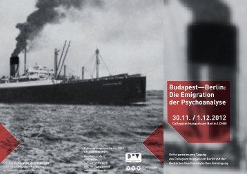 Budapest—Berlin: Die Emigration der psychoanalyse - DGPT