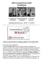Kirchenanzeiger: 28. Oktober 2012