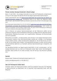 Pressemitteilung als PDF - Piratenpartei beider Basel