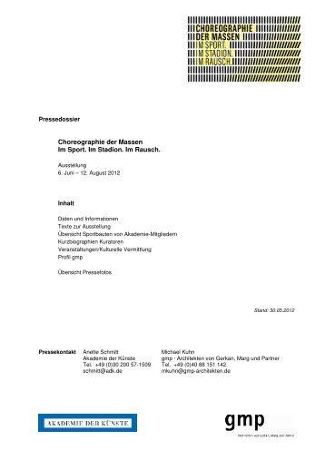 Pressedossier (pdf-Dokument 0,8 MB) - Akademie der Künste