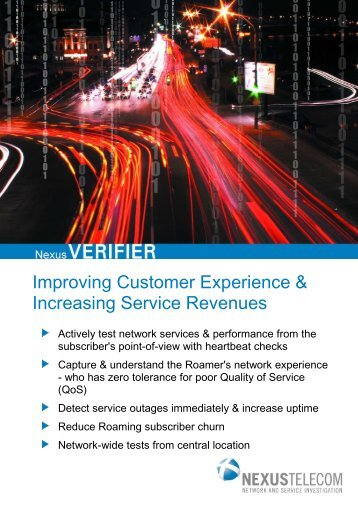 NexusVERIFIER Product Brochure (PDF) - Nexus Telecom