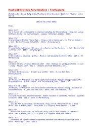 Nachlaßbibliothek Anna Seghers / Textfassung - Akademie der Künste