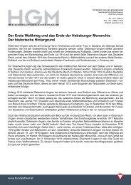 Der Erste Weltkrieg und das Ende der Habsburger Monarchie Der ...