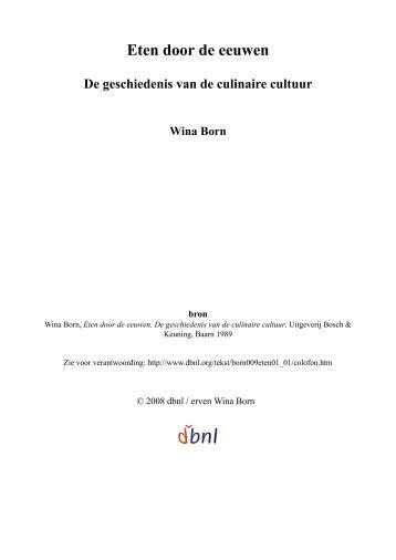 Eten door de eeuwen - digitale bibliotheek voor de Nederlandse ...