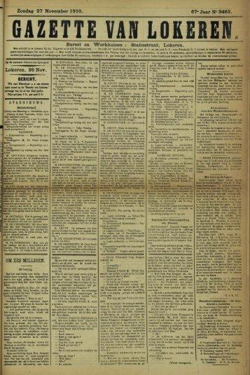 """Zondag 27 November 1910. 67"""" Jaar N» 3463. Bureel en ..."""