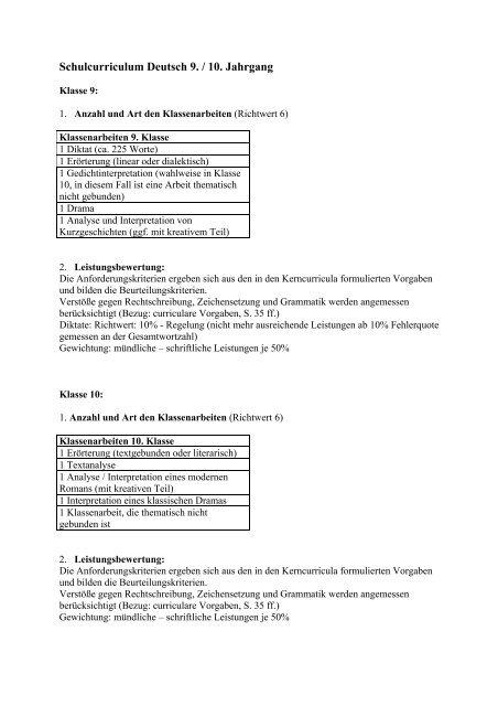 Schulcurriculum Deutsch 9 10 Jahrgang Nig