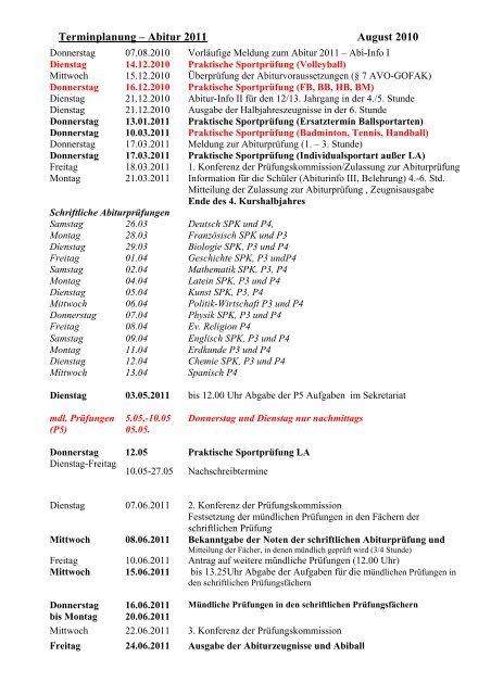 Terminplanung ? Abitur 2003
