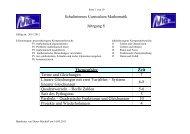 Schulinternes Curriculum Mathematik Klasse 8