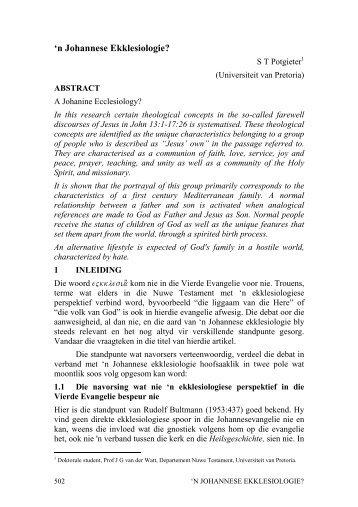 n Johannese Ekklesiologie? - Repository.up.ac.za