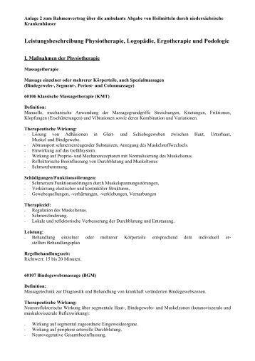 Leistungsbeschreibung Physiotherapie, Logopädie, Ergotherapie ...
