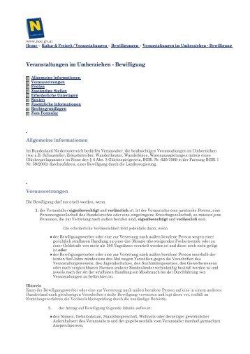 Veranstaltungen im Umherziehen - Bewilligung - Das Land ...