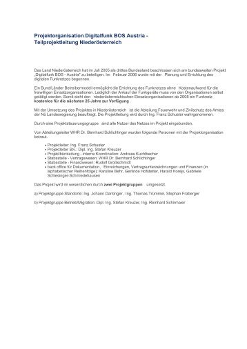 Projektorganisation Digitalfunk BOS Austria - Das Land ...