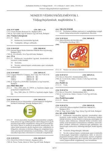 PDF 7,1 MB - Szellemi Tulajdon Nemzeti Hivatala