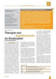 Therapie von Ependymomen im Kindesalter - Kinderkrebsstiftung