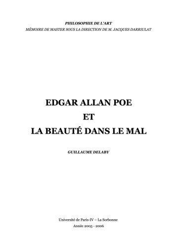 Lire Edgar Allan Poe et la beauté dans le mal - Delaby, Guillaume