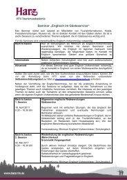"""Seminar """"Englisch im Gästeservice"""" - Südharzer Tourismusverband ..."""