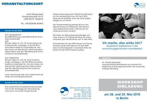 WORKSHOP EINLADUNG - Stiftung Nord-Süd-Brücken
