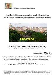 Info Begenungsreise Harare_Simbabwe 2013 - Nord Süd Forum München eV