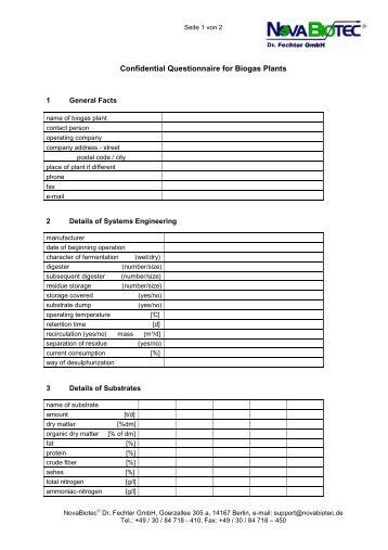 Questionnaire for Biogas - NovaBiotec® Dr. Fechter GmbH