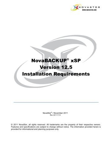 NovaBACKUP® xSP Version 12.5 Installation ... - NovaStor